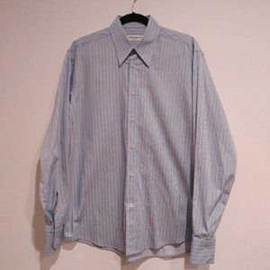YSL DRESS SHIRT 16 BLUE STRIPE OXFORD
